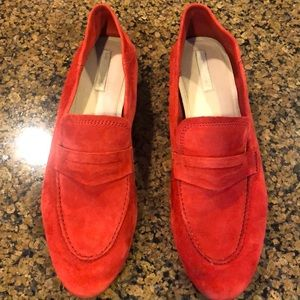 Red suede loafers can be worn as mules, soft back